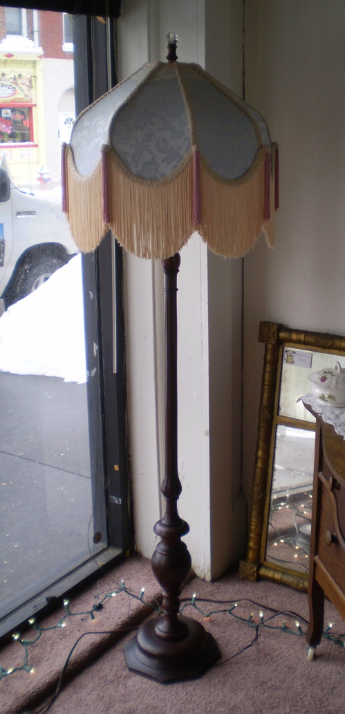 1920s Floor Lamp W Fringe Shade The Place